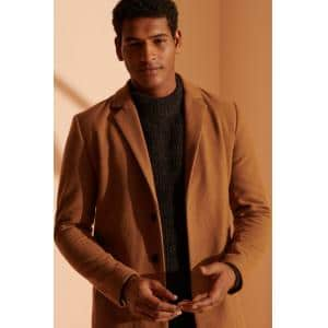 SUPERDRY CROMBIE COAT CAMEL