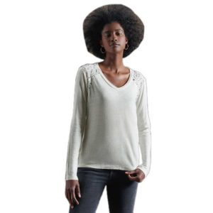 SUPERDRY NYC LACE INSERT LINEN TOP