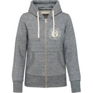 BIT OF SALT WOMENS KARIBAN VINTAGE  ZIP HOODY SLUB GREY HEATHER