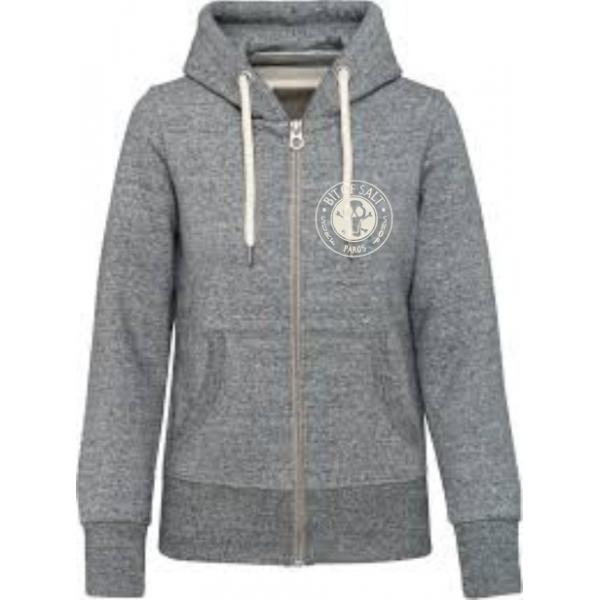 BIT OF SALT MENS KARIBAN VINTAGE ZIP HOODY SLUB GREY HEATHER