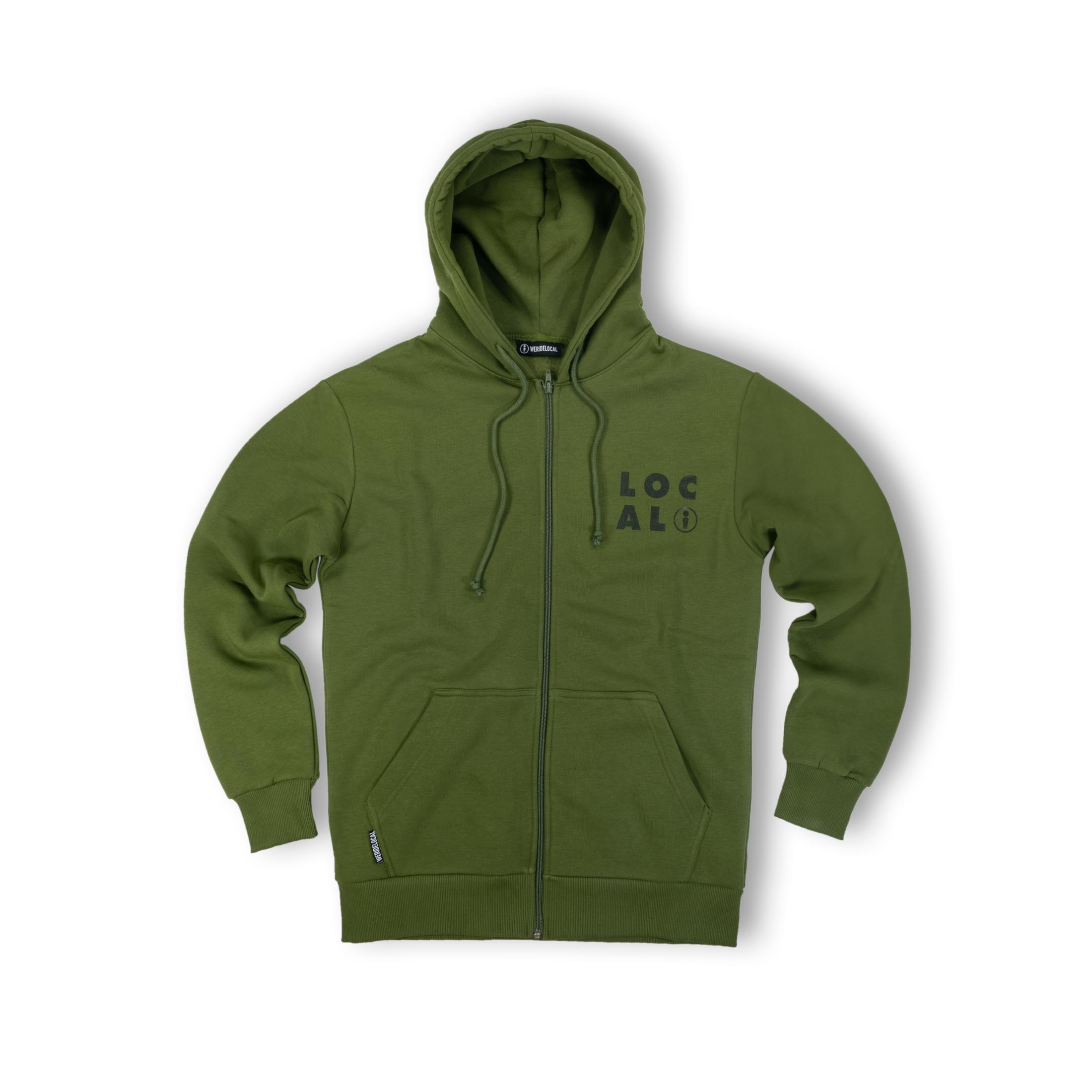 WE RIDE LOCAL (FELLA OLIVE ZIPPED HOODIE)