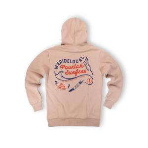 WE RIDE LOCAL (POWDAH SURFERS BEIGE HOODIE)