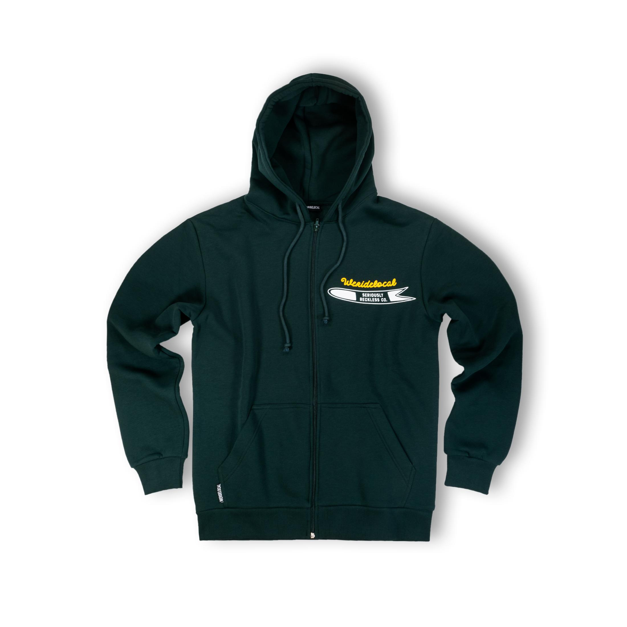 WE RIDE LOCAL (POWDAH SURFERS FOREST ZIPPED HOODIE)